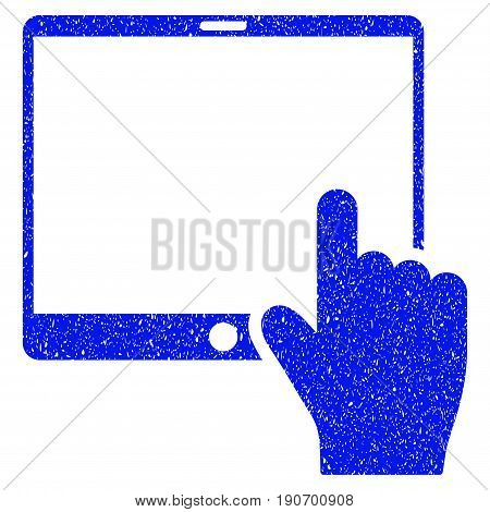 Grunge Hand Points Mobile Tablet icon with grunge design and unclean texture. Unclean vector blue pictogram for rubber seal stamp imitations and watermarks. Draft sign symbol.