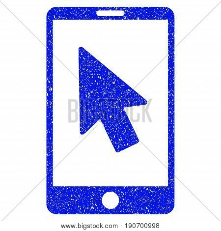 Grunge Mobile Arrow Pointer icon with grunge design and unclean texture. Unclean vector blue pictogram for rubber seal stamp imitations and watermarks. Draft sign symbol.