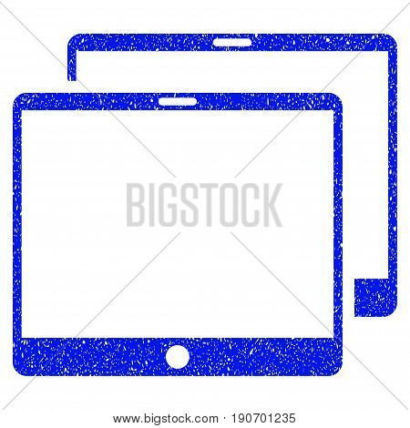 Grunge Mobile Tabs icon with grunge design and unclean texture. Unclean vector blue pictogram for rubber seal stamp imitations and watermarks. Draft sticker symbol.