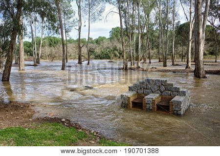 Overflowing Of The Yeguas River Near The Central Hydroelectric Reservoir Of Encinarejo, Near Andujar