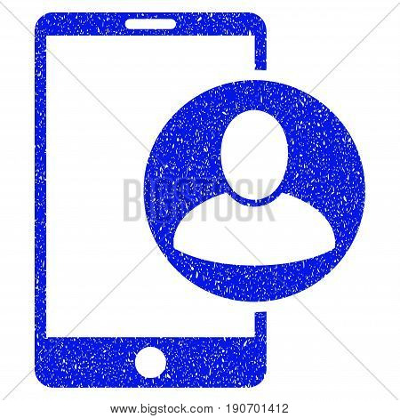 Grunge Phone User Profile icon with grunge design and unclean texture. Unclean vector blue pictogram for rubber seal stamp imitations and watermarks. Draft sticker symbol.