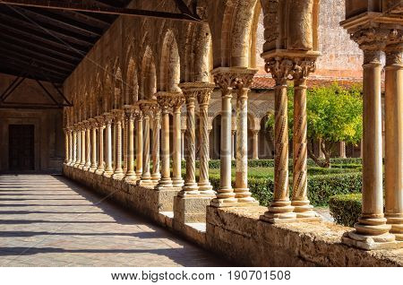 Every pair of columns is different in the cloister of the former Benedictine abbey - Monreale Sicily Italy, 21 October 2011