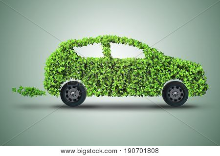 Concept of green electric car 3D rendering