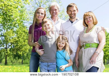 Portrait of extended family with children and seniors in summer park
