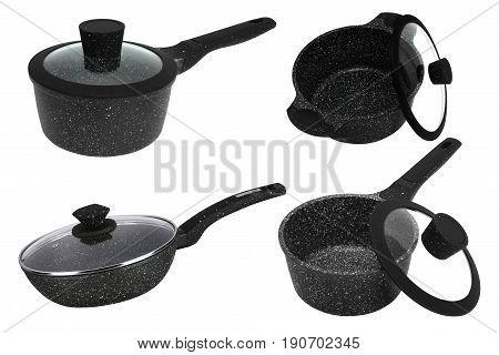 Black pan non-stick on white background isolation