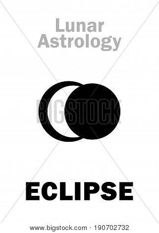 Astrology Alphabet: Lunar ECLIPSE, astronomical phenomenon. Hieroglyphics character sign (single symbol).