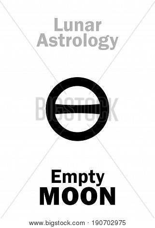 Astrology Alphabet: Empty MOON (Moon without course). Hieroglyphics character sign (single symbol).