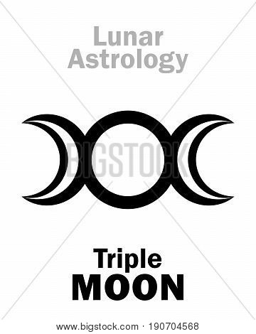 Astrology Alphabet: Triple MOON (Threefaced Goddess: Maiden - Mother - Crone). Hieroglyphics character sign (single symbol).