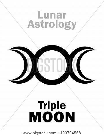 Astrology Alphabet: Triple MOON (Threefaced Goddess: Maiden- Mother - Crone). Hieroglyphics character sign (single symbol).