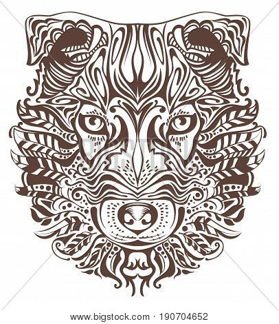 Abstract graphic drawing of dog head. Isolated on white vector illustration
