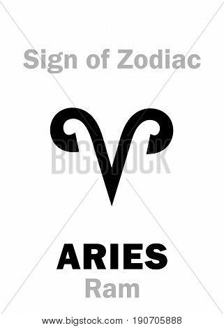 Astrology Alphabet: Sign of Zodiac ARIES (The Ram). Hieroglyphics character sign (single symbol).