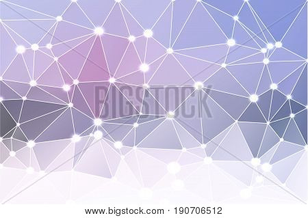 Pale pink grey blue abstract low poly geometric background with white triangle mesh and defocused lights.