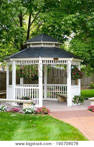 WINTERSET, IOWA - AUGUST 19, 2015: Gazebo at the John Wayne Birthplace. The Gazebo is located to the rear of the modest four room house The Duke grew up in.