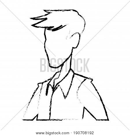 portrait man contour male default image vector illustration