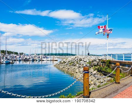 Seaside walk in Sidney BC on Vancouver Island Canada