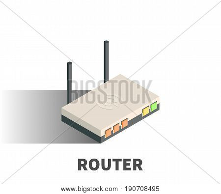 Router icon vector symbol in isometric 3D style isolated on white background.