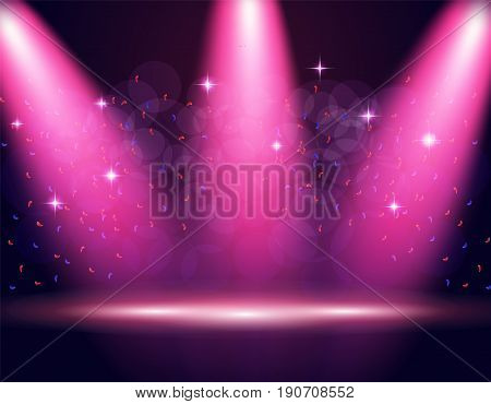 Illumination of the stage, podium, spotlights. Confetti is flying. Purple background. Vector illustration