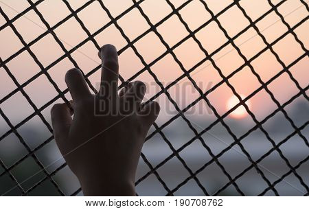 Woman's hand grabs the fence concept of imprisonment