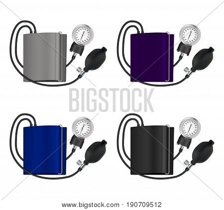 Tonometer set medical device for measuring blood pressure. Isolated objects. Vector illustration.