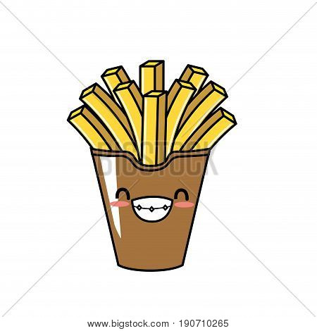 cute kawaii french fries smile and happy vector illustration