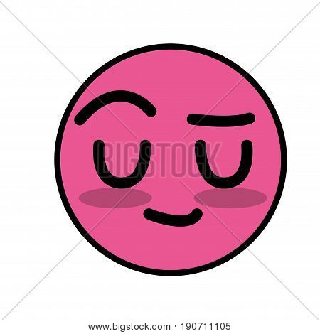 cute kawaii convinced face and intelligent vector illustration