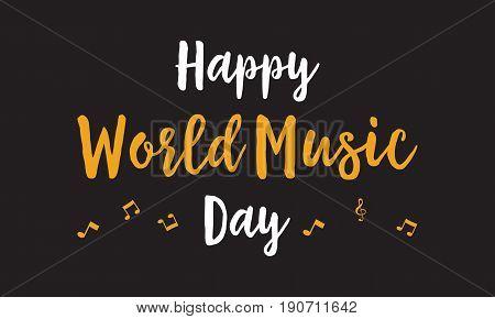 Happy world music day celebration vector art illustration