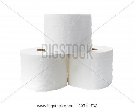 Rolls of toilet paper isolated on white background