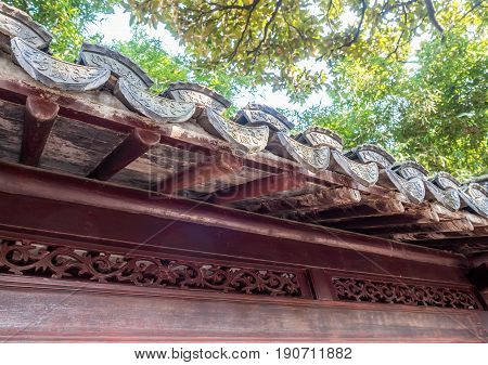 Shanghai, China - Nov 4, 2016: In Yu Yuan (Yu Garden) - traditional Chinese building eaves with classical design styling.