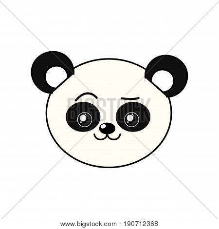 cute wild animal face with expression vector illustration