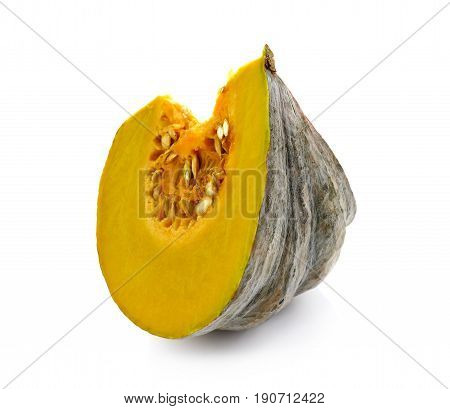 Fresh yellow pumpkin isolated on white background