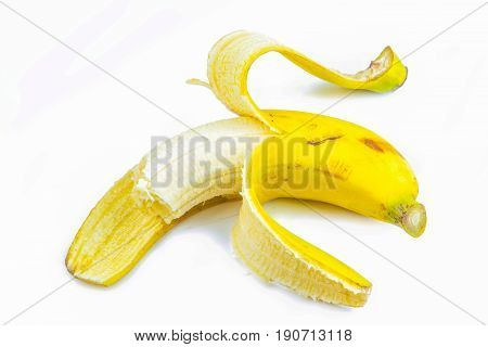 yellow banana on white background close up