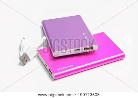 power bank on white background for sharged