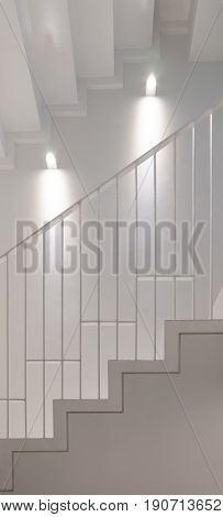 White staircase with hand rail made by steel. interior design