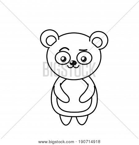 beautiful lilne cute animals with expression face vector illustration