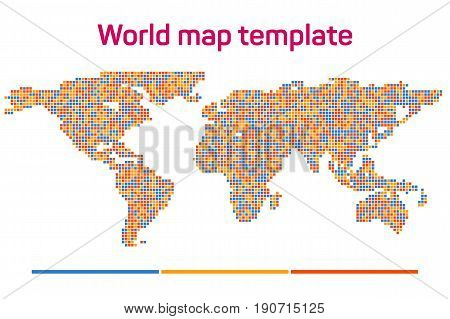 Worldmap mosaic template silhouette. World map for infographic. Vector illustration isolated on white