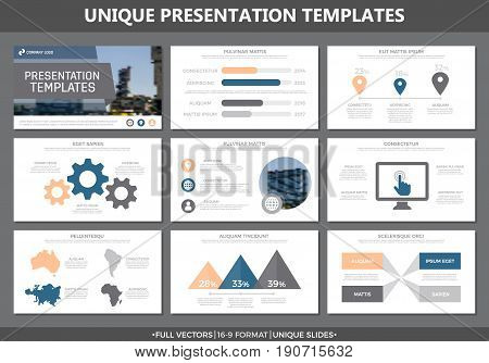 Set of bodily and blue elements for multipurpose presentation template slides with graphs and charts. Leaflet, corporate report, marketing, advertising, annual report, book cover design.