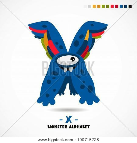 Monster alphabet. Letter X. A strange animal. Vector illustration on white background. Great children's print. The concept of a kid's toy.