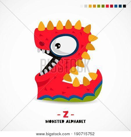 Monster alphabet. Letter Z. Strange animal. Vector illustration on white background. Great children's print. The concept of a kid's toy.