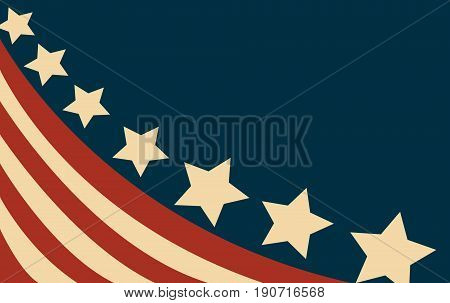 USA flag in style colored illustration art