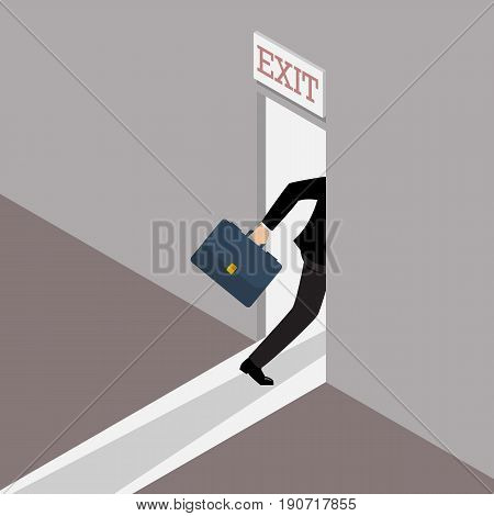 Business solution or exit strategy. Businessman runs to the exit door