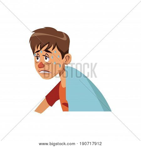 sick man red nose symptoms and sweating vector illustration