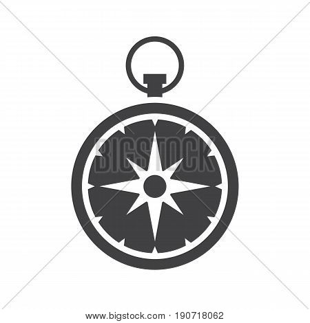 Compass vector icon isolated on white background. Navigation equipment with wind rose single pictogram in outline design for website and devices.