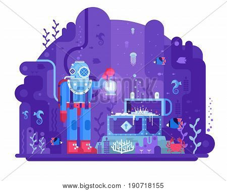Retro diver standing on seabed in underwater world finding open gold chest. Sea treasure hunting vector illustration. Deep diving concept scene with aqualunger in old scuba dive suit on coral reef.