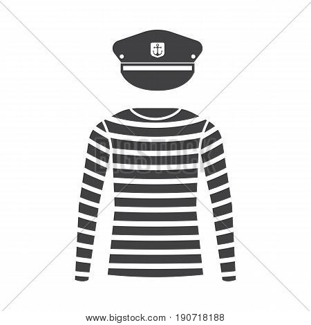 Sea sailor wear vector set. Navy captain cap and striped long-sleeved t-shirt isolated on white background. Marine skipper hat and sailor shirt icon. Yacht officer outfit.