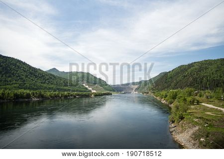Sayano-Shushenskaya Hydro Power Station on the River Yenisei in Russia