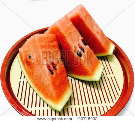 Fresh Fruits Sliced Ripe and Sweet of Refreshing Watermelon on A Japanese Tray.
