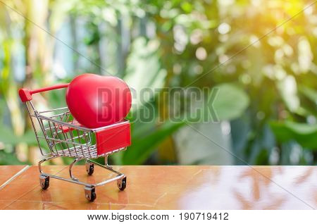 mini supermarket shopping cart with red heart for love on blurred green nature background Valentine's Day concept selective focus copy space sunlight effect