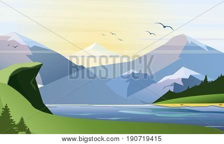 Vector flat illustration of nature background with grass, lake forest, mountains and hills. Outdoor activities