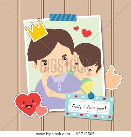 Happy Father's Day. Photo of cartoon father and son hugging together. Photo frame decorated with stickers and memo written