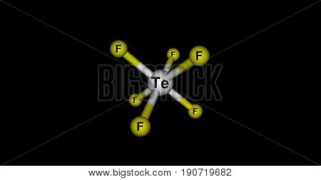 Tellurium hexafluoride is a chemical compound of tellurium and fluorine with the chemical formula TeF6. It is a colorless highly toxic gas with an extremely unpleasant smell. 3d illustration